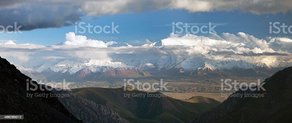 Panoramic view of Lenin Peak from Alay range stock photo