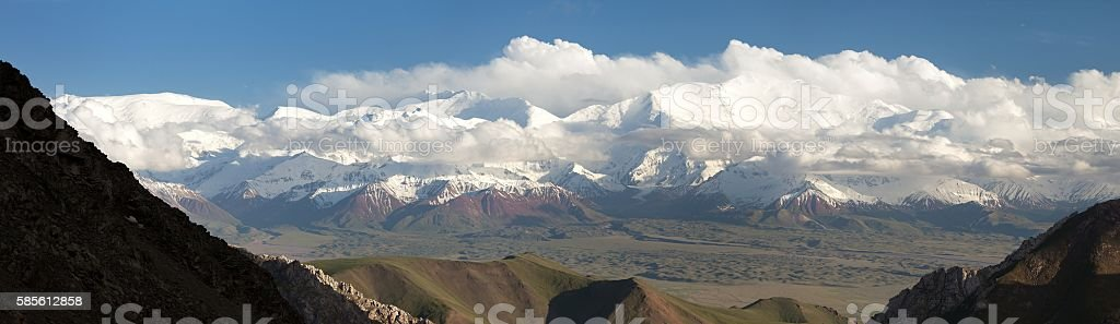 Panoramic view of Lenin Peak, Pamir Mountains stock photo