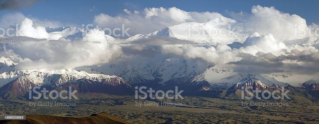 Panoramic view of Lenin Peak stock photo