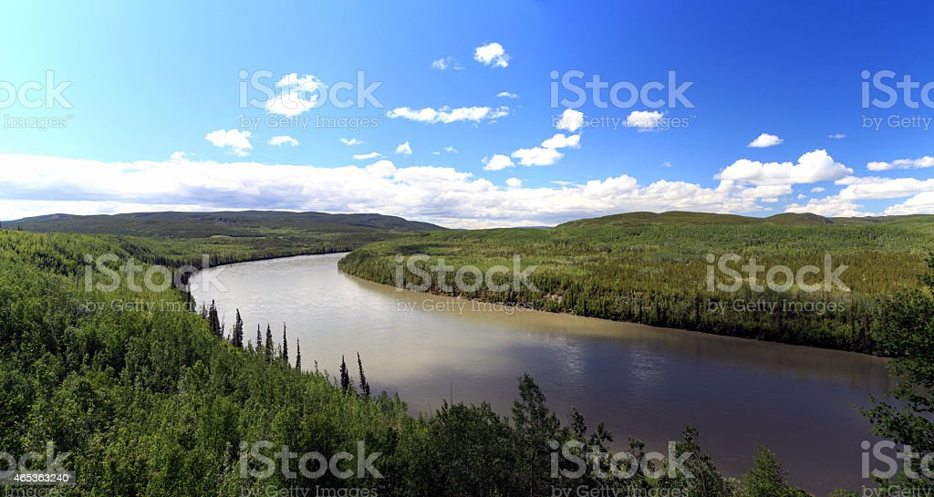 Panoramic view of Liard River in northern British Columbia, Canada. stock photo