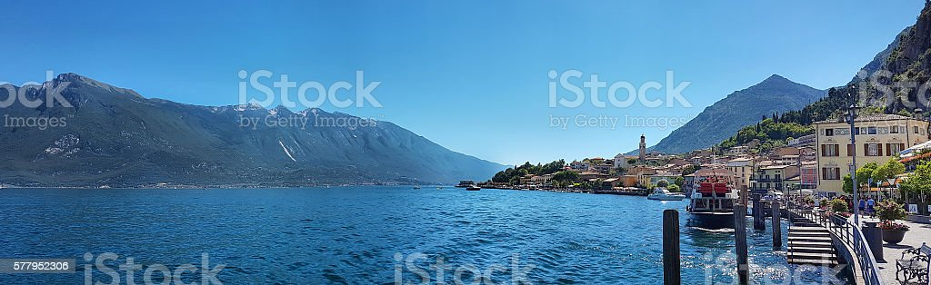 Panoramic view of Limone del Garda - Italy stock photo