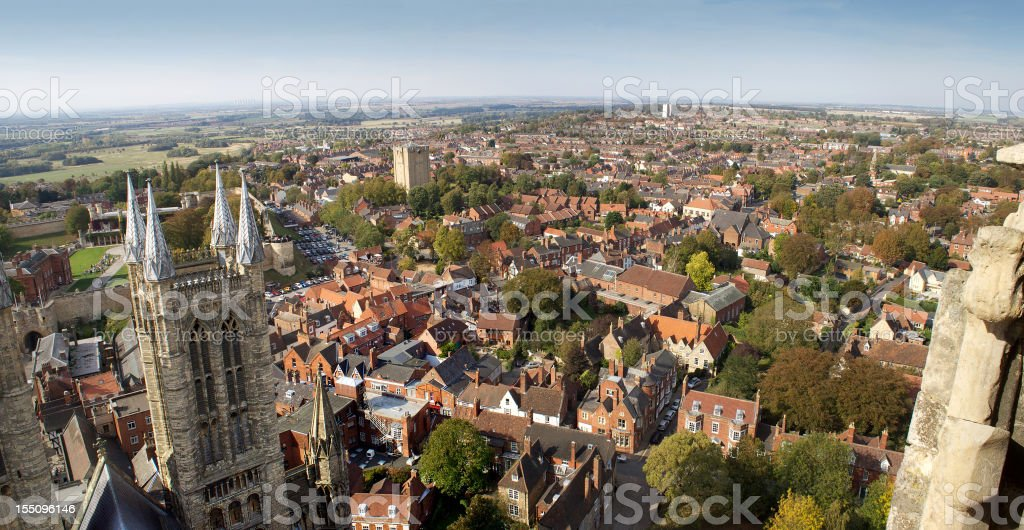 Panoramic view of Lincoln, England from Cathedral bell tower stock photo