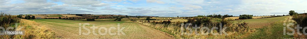 Panoramic view of Lincolnshire Wolds farmland countryside royalty-free stock photo