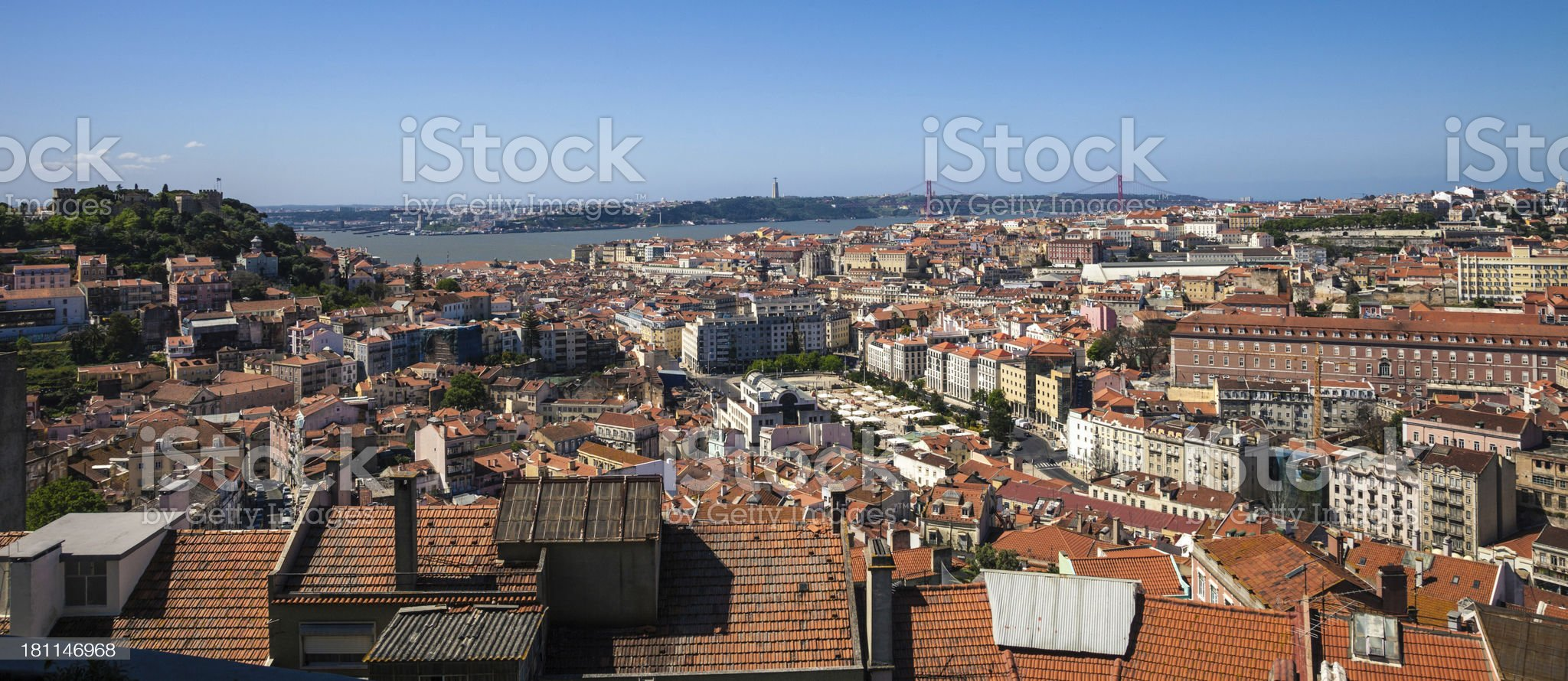 Panoramic view of Lisbon royalty-free stock photo