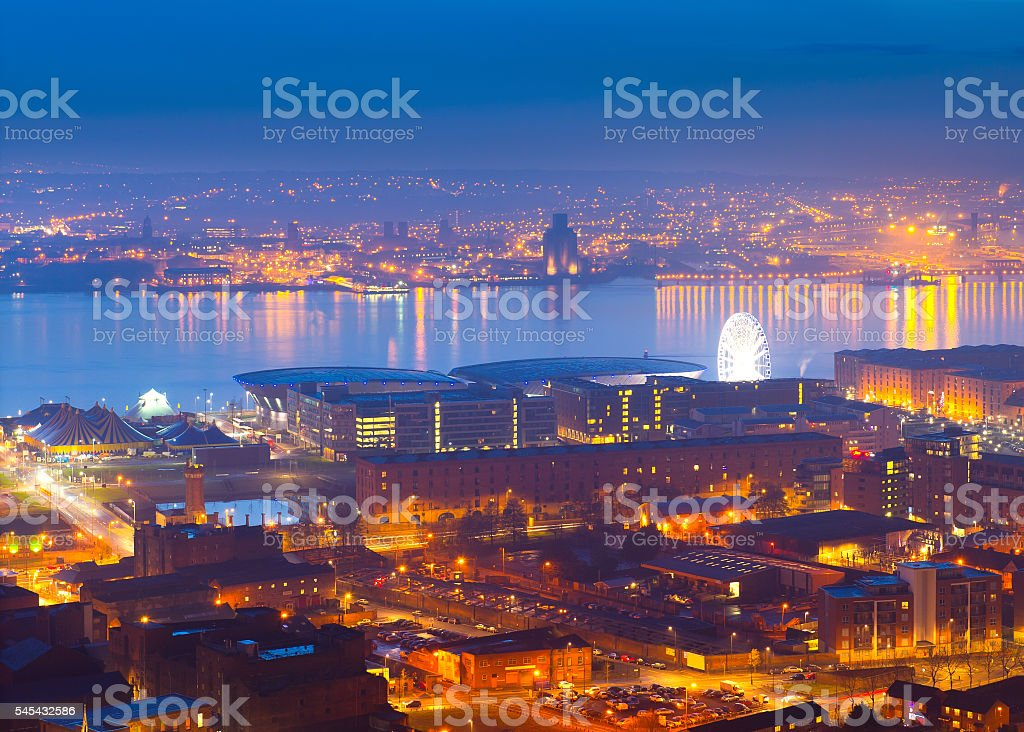 Panoramic view of Liverpool City at night stock photo