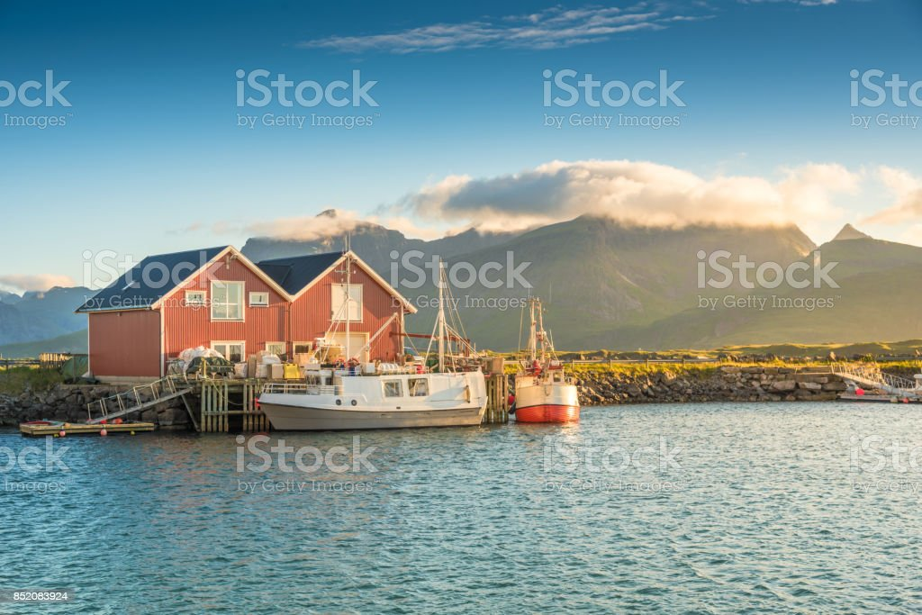 Panoramic view of Lofoten Islands in Norway with sunset scenic stock photo