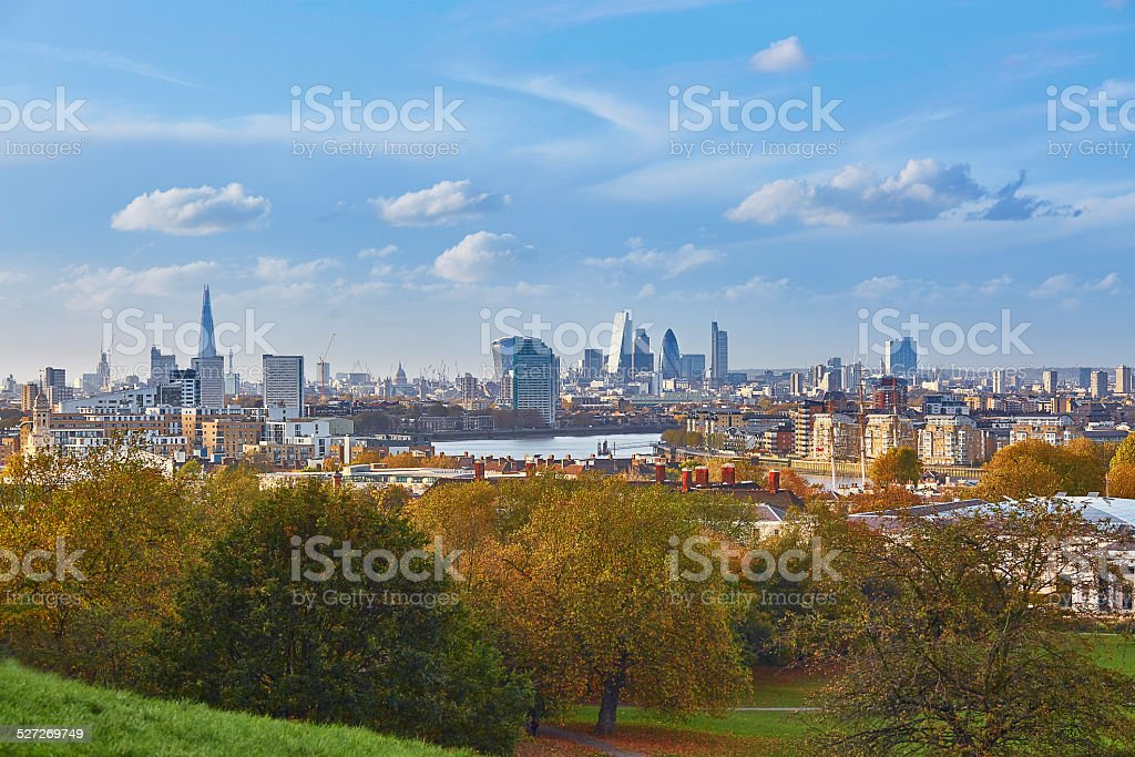 Panoramic view of London cityscape seen from Greenwich stock photo