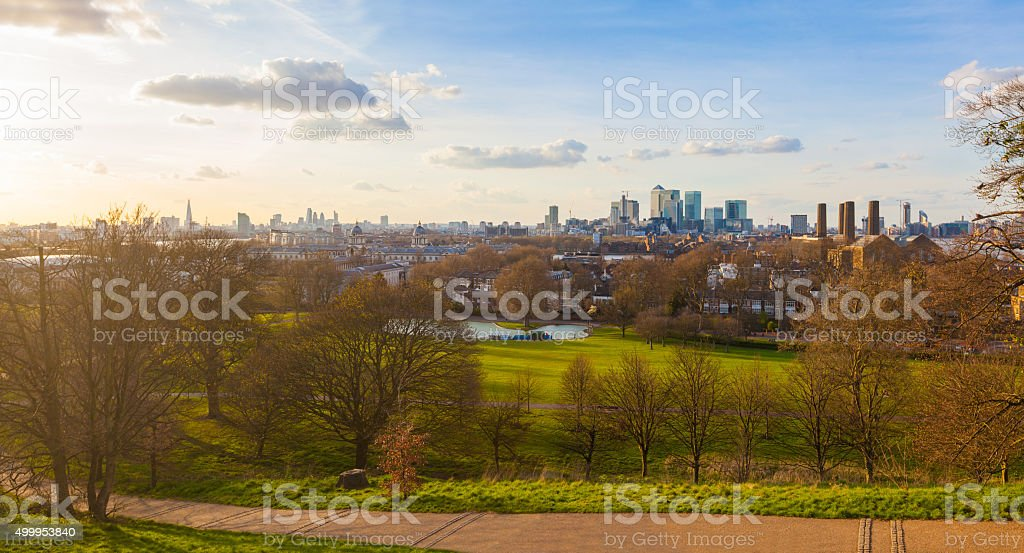 Panoramic view of London from Greenwich park at sunset stock photo