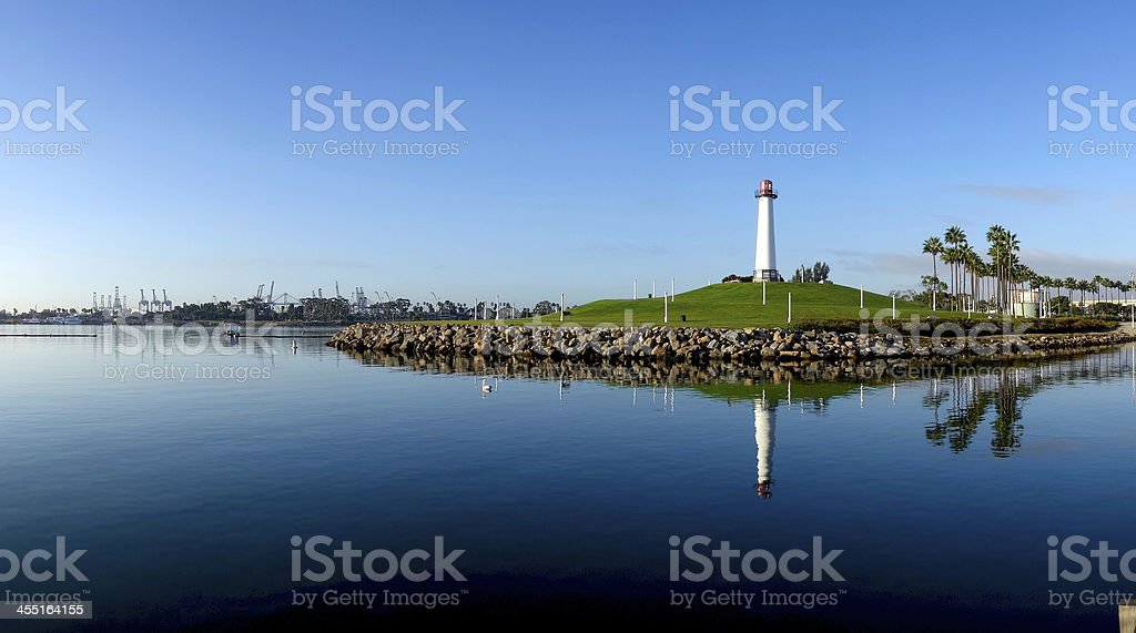 Panoramic View of Long Beach Harbor Lighthouse stock photo