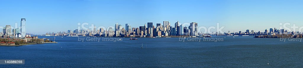 Panoramic view of lower Manhattan, New York stock photo