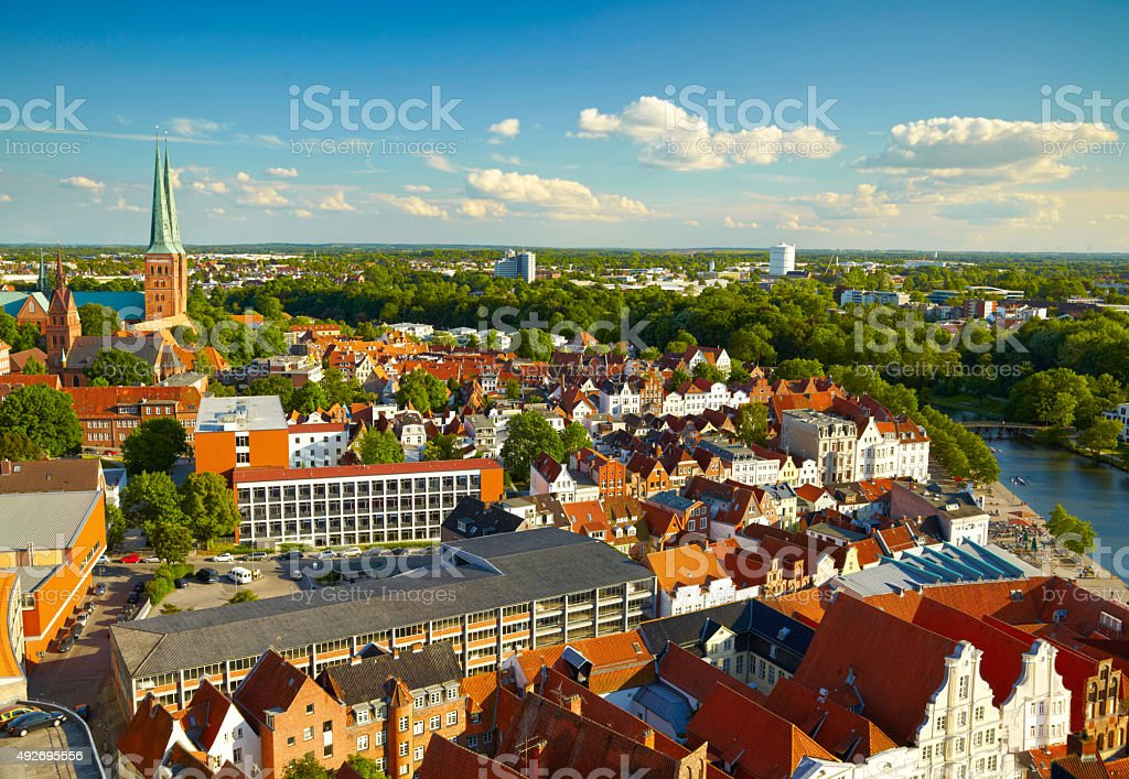 Panoramic view of Lubeck,  Germany stock photo