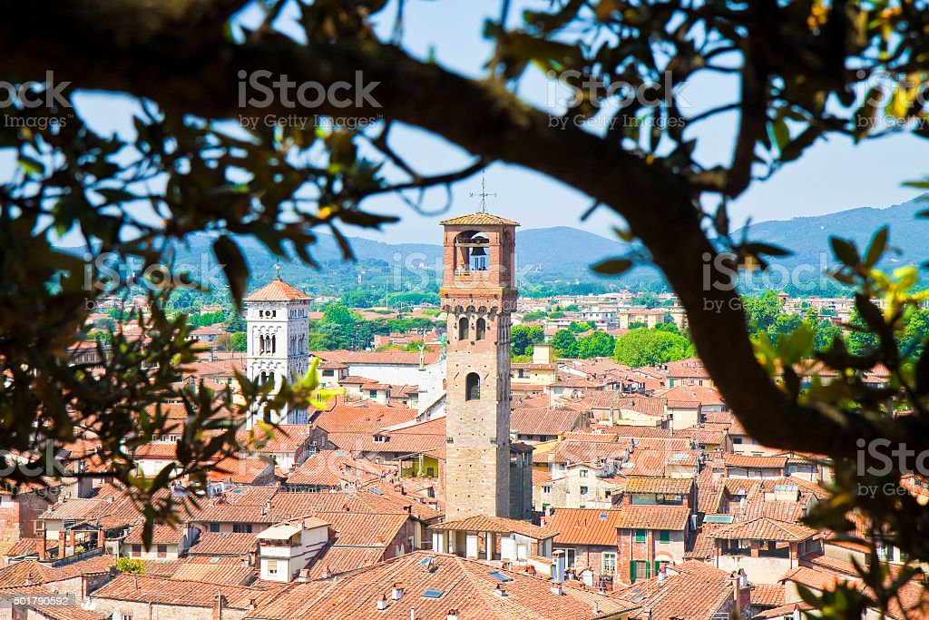 Panoramic view of Lucca city stock photo