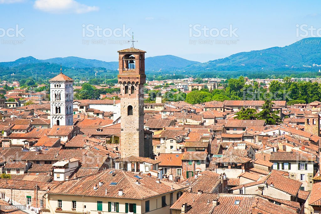 Panoramic view of Lucca stock photo