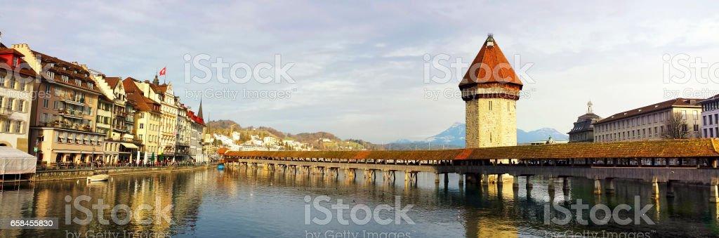 Panoramic view of Lucern, Switzerland stock photo