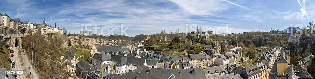 Panoramic view of Luxembourg old town stock photo