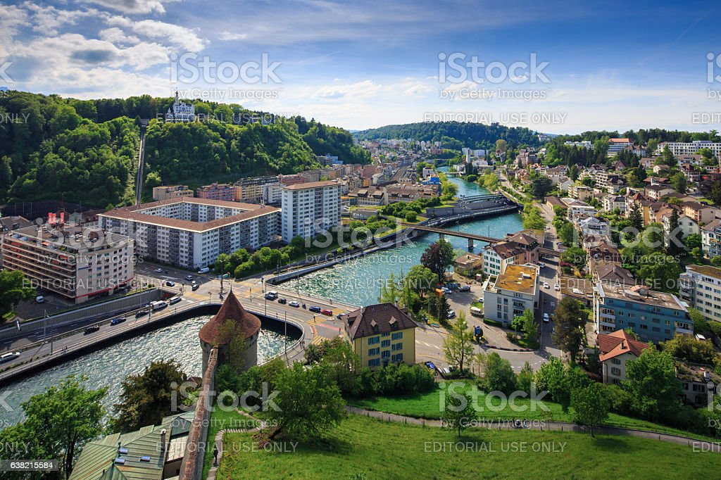 Panoramic view of Luzern from Museggmauer stock photo