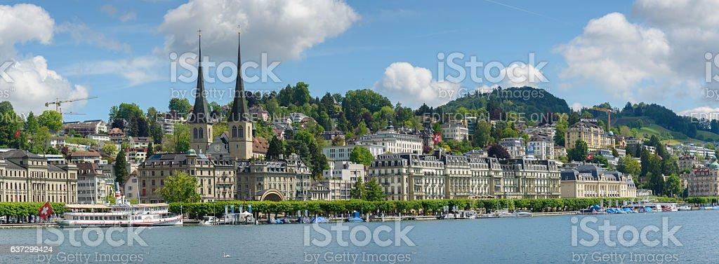 Panoramic view of Luzern on May 20, 2016 stock photo