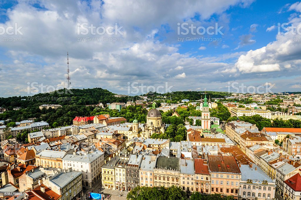 Panoramic view of Lviv from above City Hall, Ukraine stock photo
