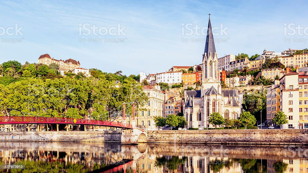 Panoramic view of Lyon with Saone river stock photo