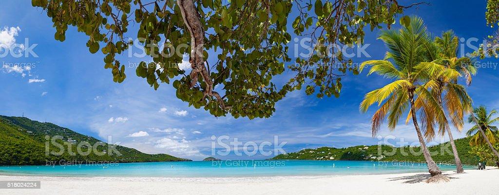 Panoramic view of Magens Bay, St. Thomas, US virgin Islands stock photo