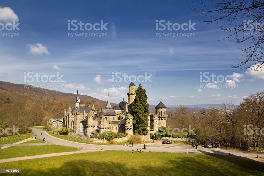 Panoramic view of magnificent medieval fairy castle stock photo