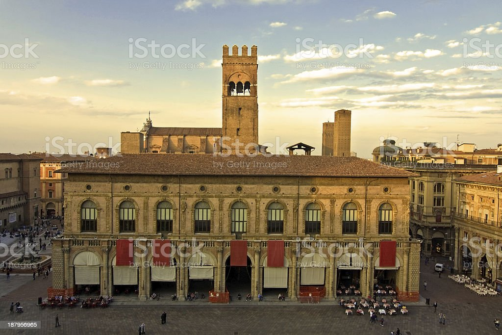 panoramic view of main square - bologna, italy stock photo