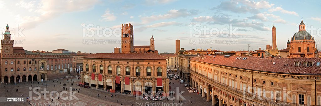 panoramic view of main square - bologna stock photo