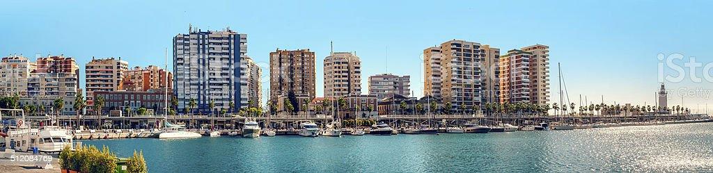 Panoramic view of Malaga harbor stock photo