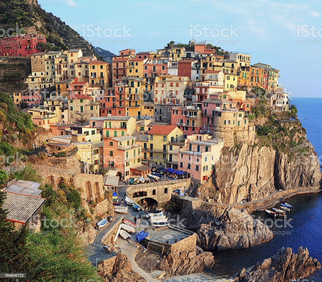 Panoramic view of Manarola in Cinque Terre, Italy stock photo