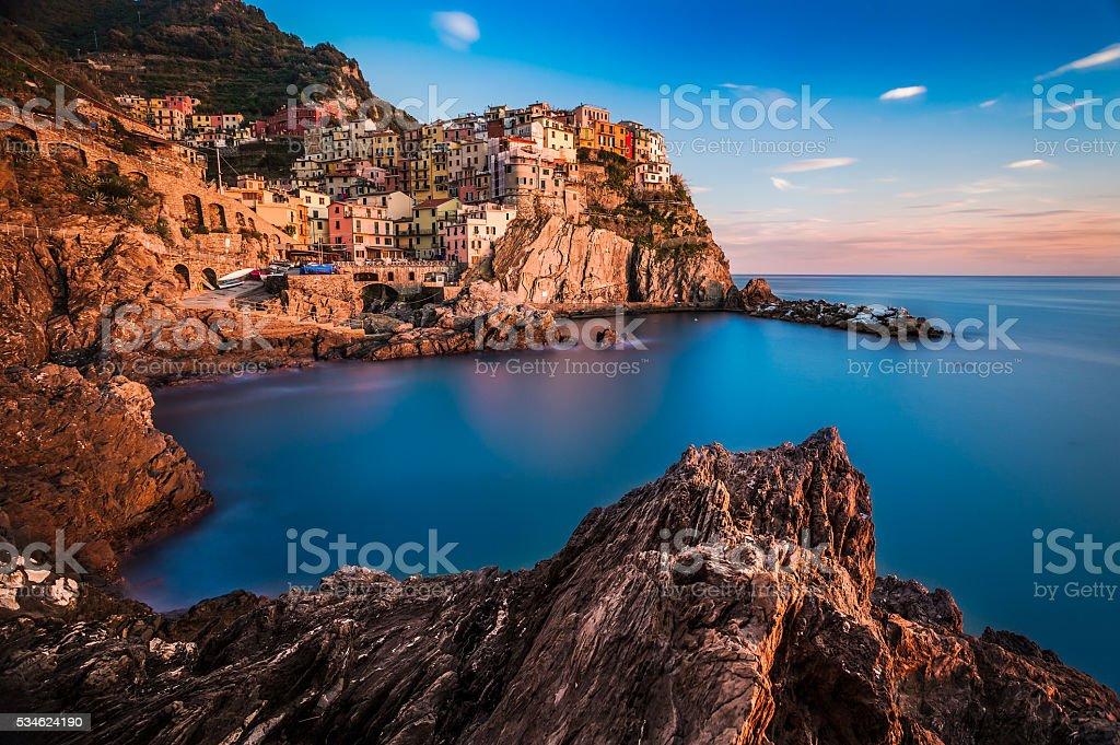 Panoramic view of Manarola in Cinque Terre, Italy stock photo