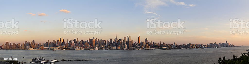 Panoramic View of Manhattan at Sunset royalty-free stock photo
