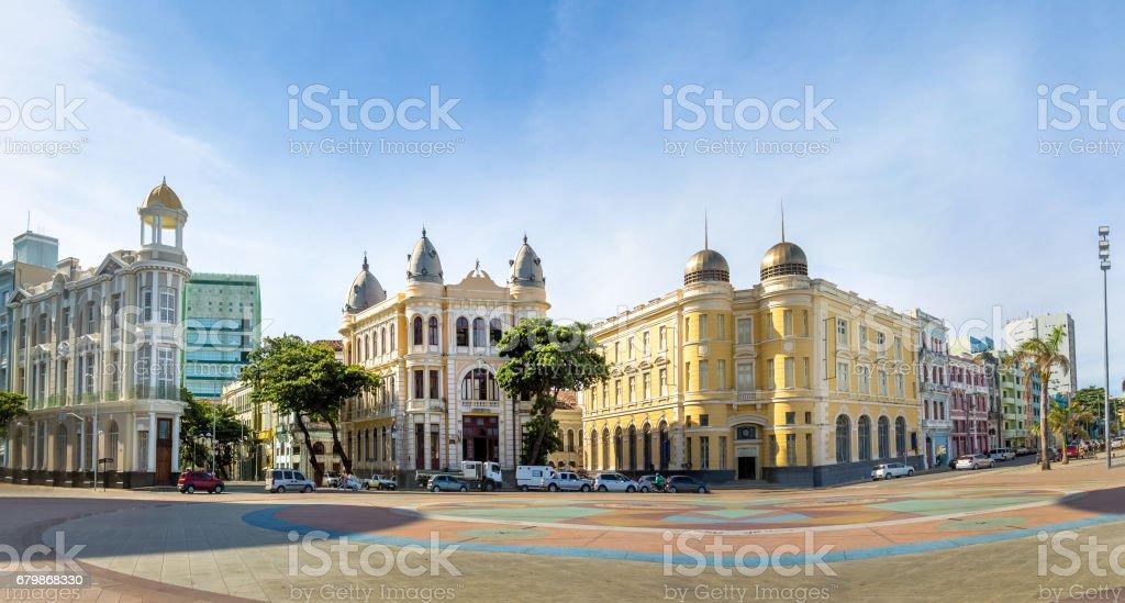 Panoramic view of Marco Zero Square at Ancient Recife district - Recife, Pernambuco, Brazil stock photo