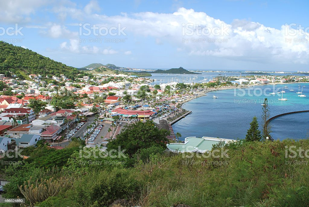 Panoramic View of Marigot Town, St Martin Island. stock photo