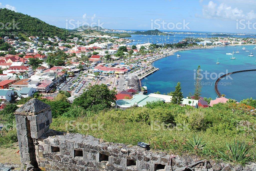 Panoramic view of Marigot Town, St Martin stock photo