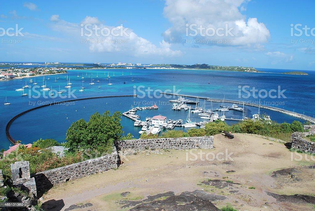 Panoramic View of Marigot Town, St Martin. stock photo