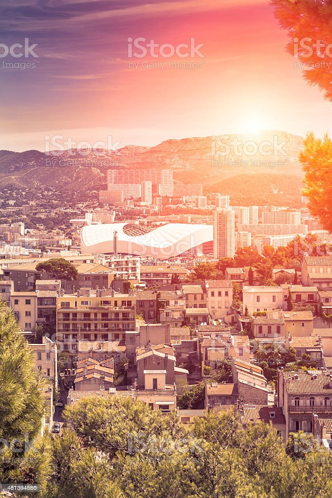 Panoramic view of Marseille and Stadium at sunset (France) stock photo