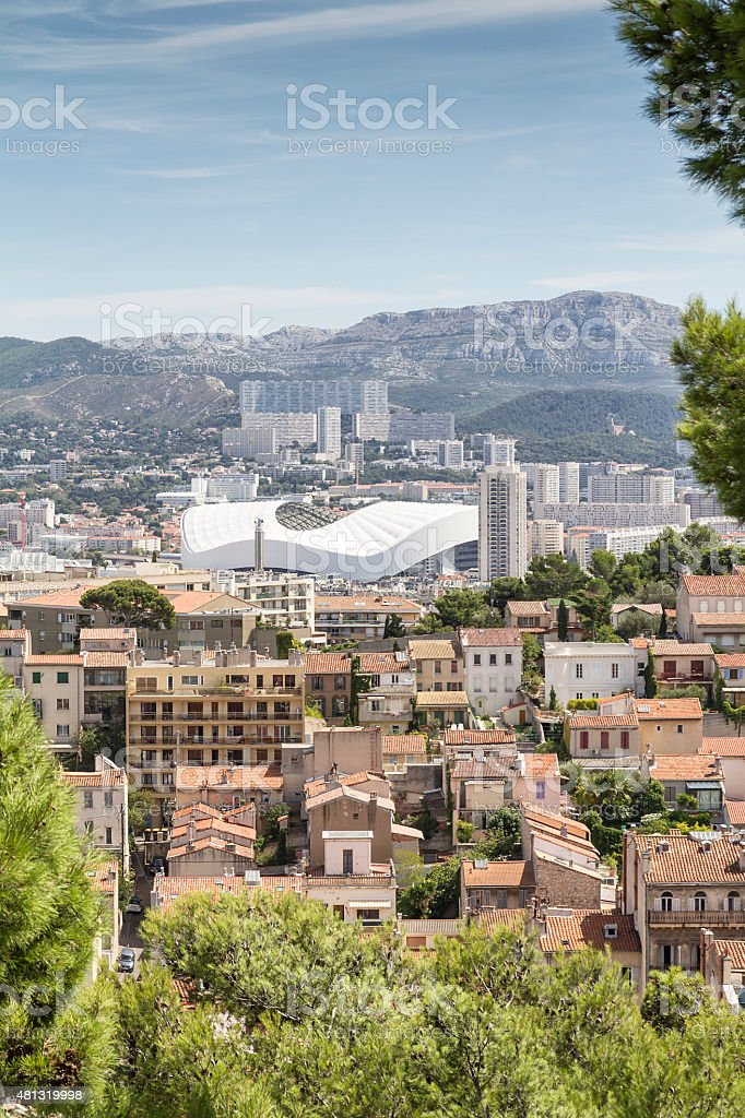 Panoramic view of Marseille and Stadium  (France) stock photo