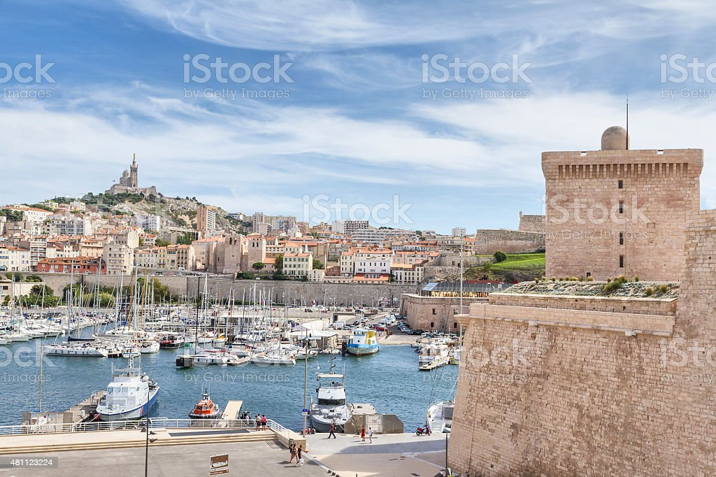 Panoramic view of Marseille from Fortress (France) stock photo