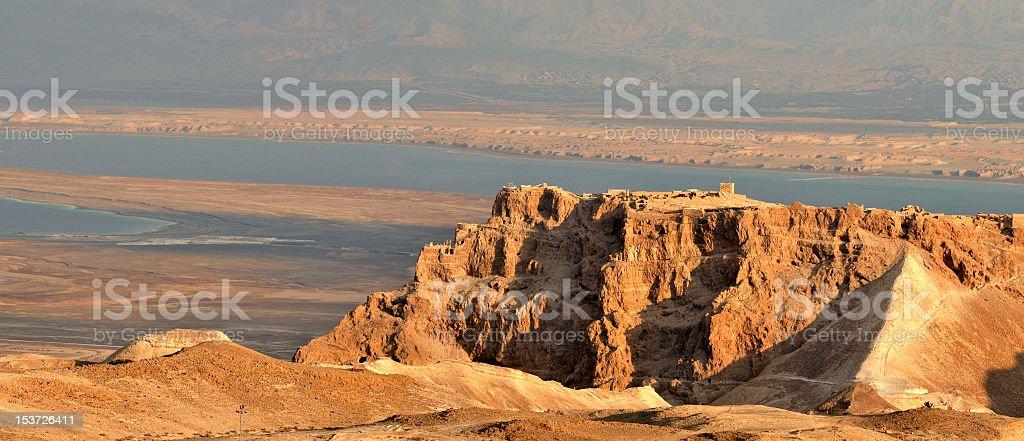 Panoramic view of Masada and surrounding region during day stock photo