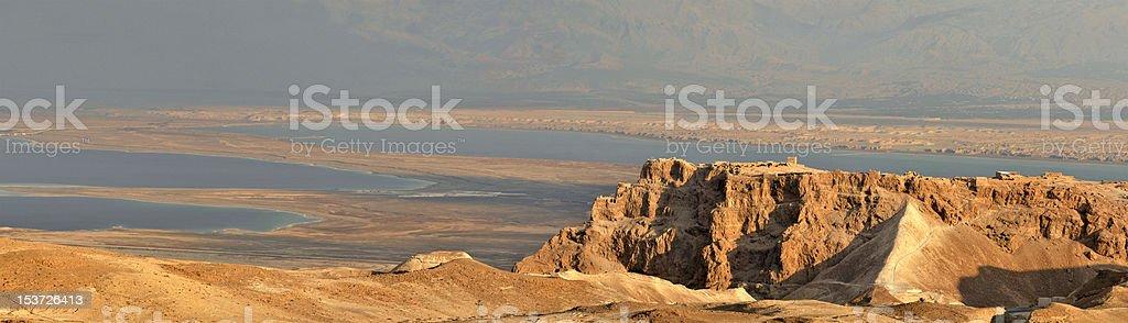 Panoramic view of Masada stock photo