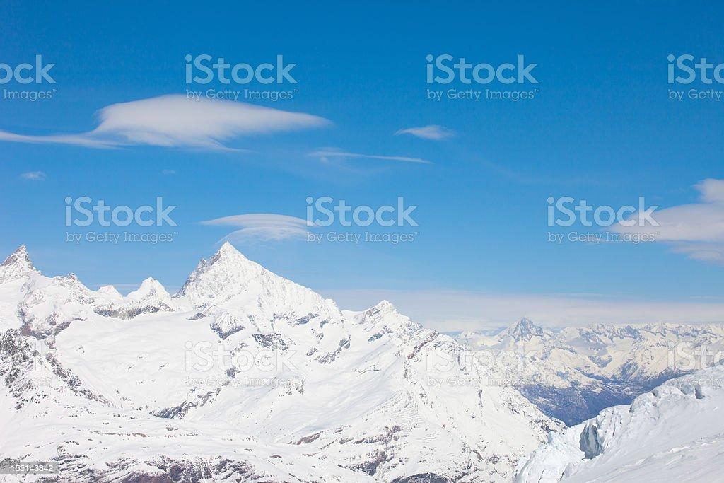 Panoramic view of Matterhorn mountain ski area royalty-free stock photo
