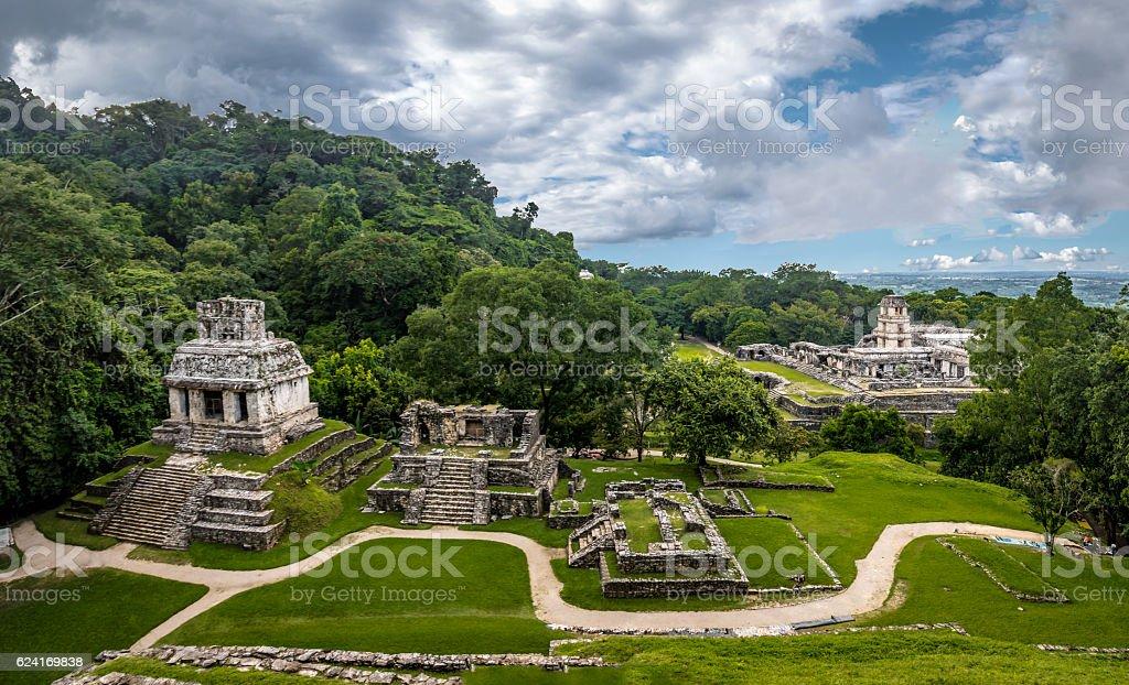 Panoramic view of mayan ruins - Palenque, Chiapas, Mexico stock photo