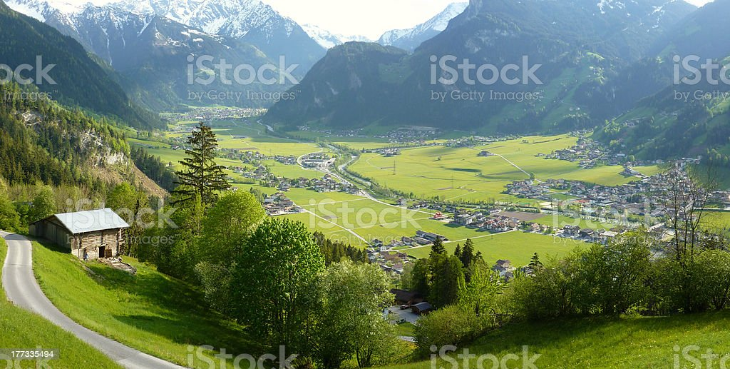 Panoramic View of Mayrhofen and Hippach in the Ziller valley stock photo