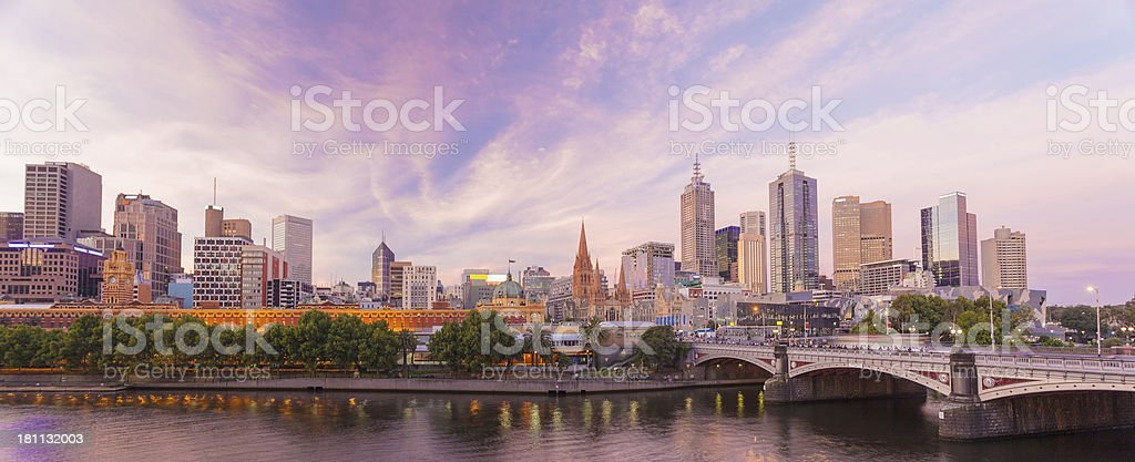 Panoramic view of Melbourne at dawn stock photo