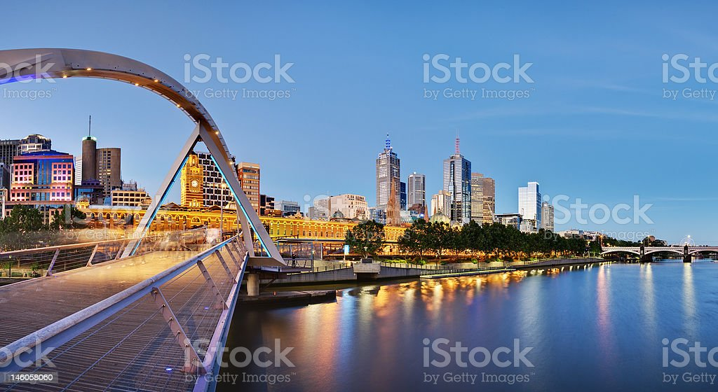 Panoramic view of Melbourne from Southbank Bridge stock photo