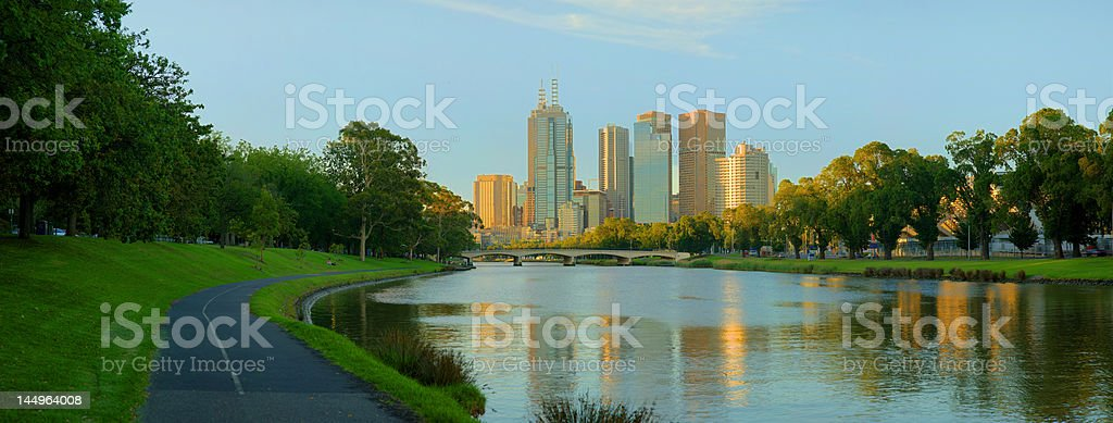 Panoramic view of Melbourne from the Yarra River banks stock photo