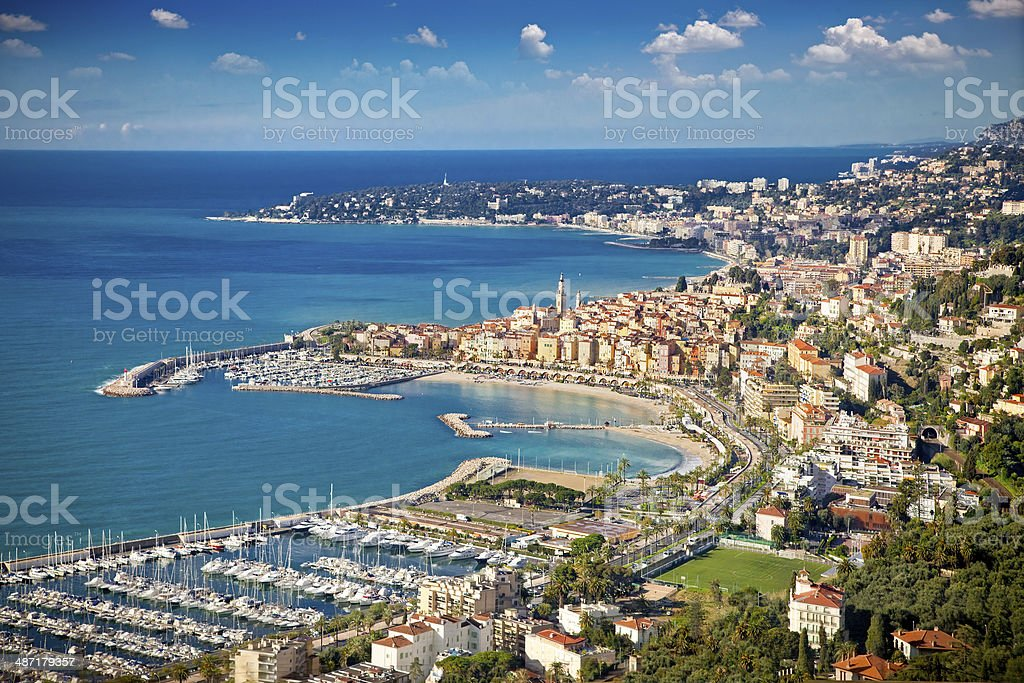 Panoramic view on Sanremo,   Italy. stock photo