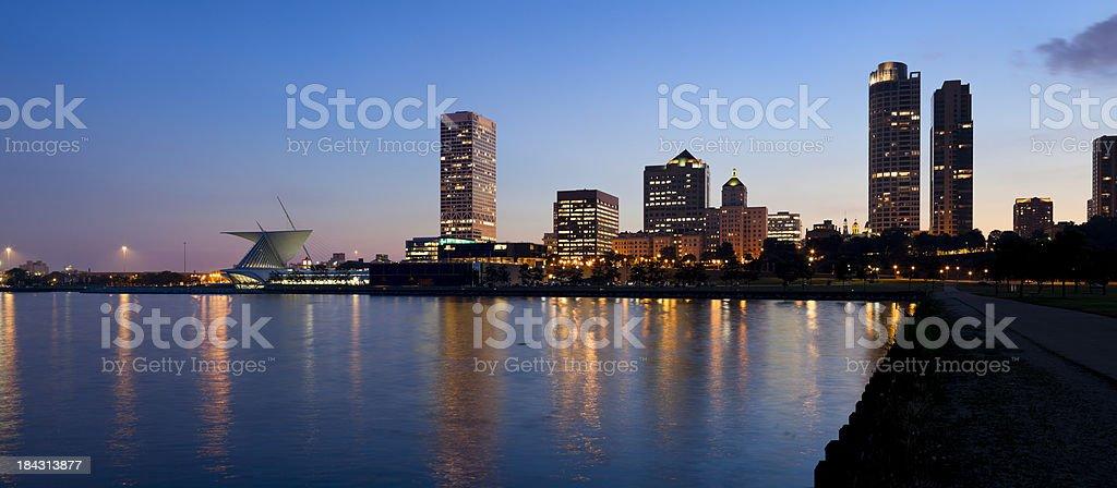 Panoramic View of Milwaukee at Dusk royalty-free stock photo