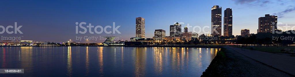 Panoramic View of Milwaukee at Twilight royalty-free stock photo