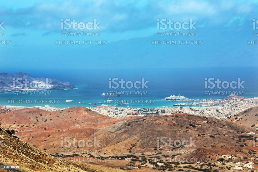 Panoramic view of Mindelo City, Cape Verde stock photo